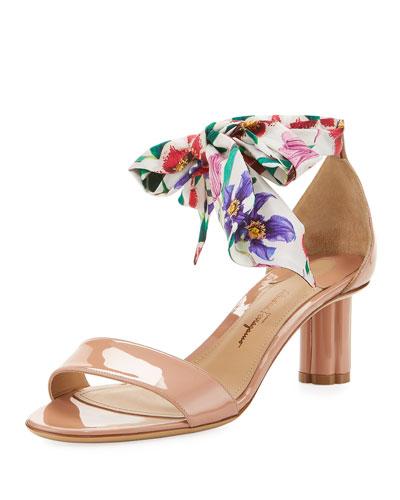 Patent Scarf-Tie Ankle-Wrap Sandal