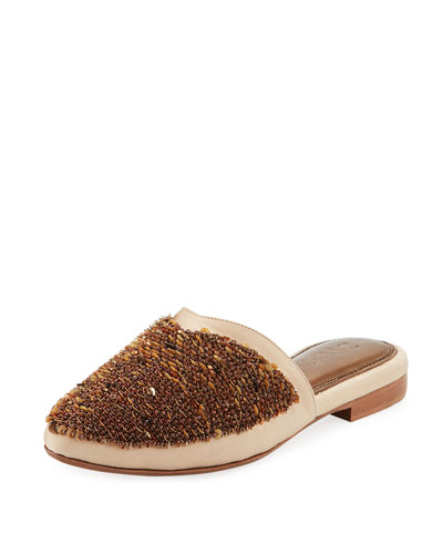 Saturne Beaded Satin Mule Slide