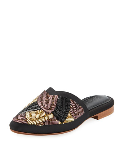 Eka Beaded Satin Mule Slide