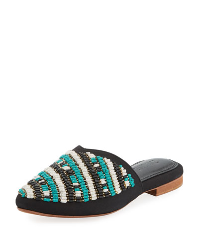 Dama Beaded Crepe Mule Slide