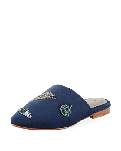 Lucky Embroidered Velvet Mule Slide