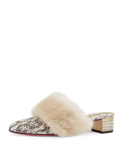 35mm Candy Python Mule w/ Fur Trim