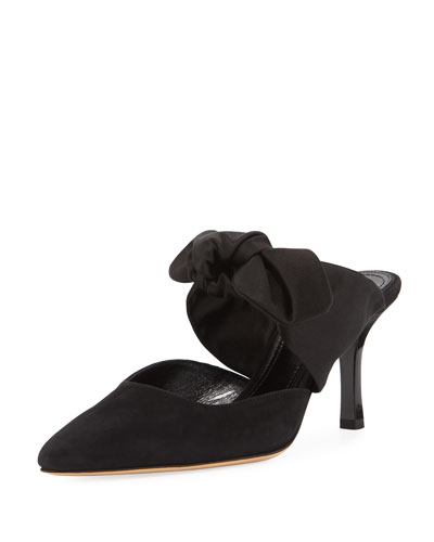 Coco Suede 75mm Mule w/ Satin Bow