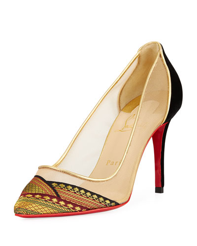 Saplati Embroidered Red Sole Pump