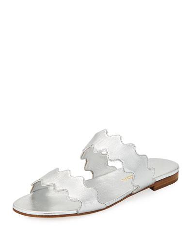 Scalloped Metallic Flat Two-Band Slide Sandal
