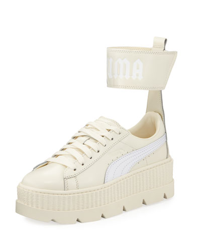 Leather Ankle-Strap Platform Sneaker