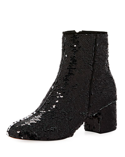 Flippy Sequined Ankle Bootie, Black