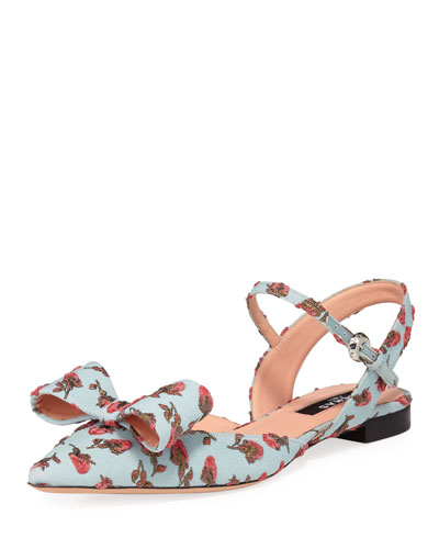 Flower-Embroidered Ankle-Strap Flat