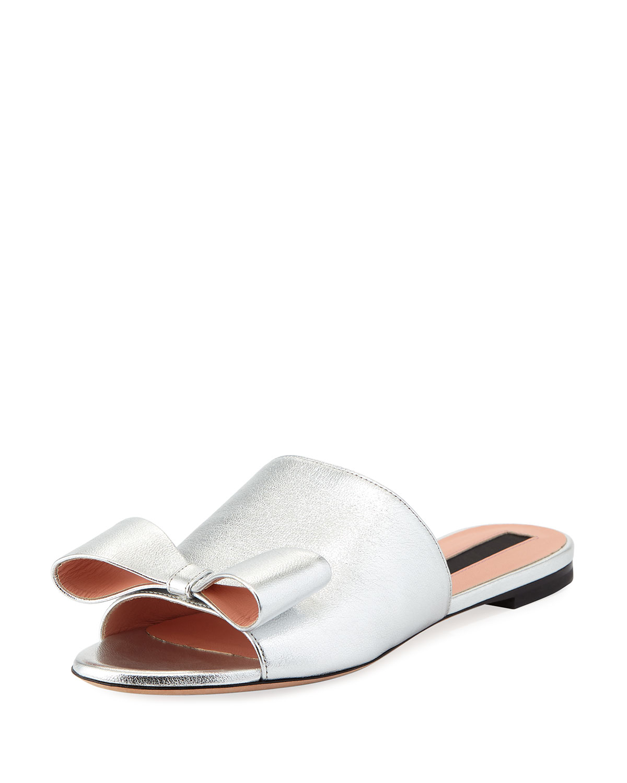 Metallic Bow Flat Slide Sandal