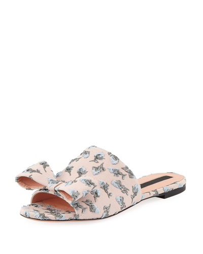 Flower-Embroidered Flat Slide Sandal