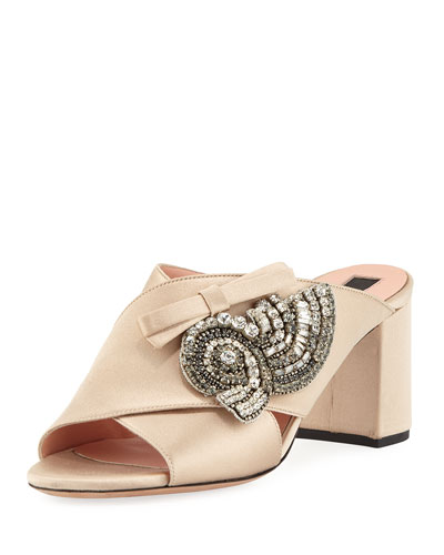 Crystal-Embellished Satin Mule Pump