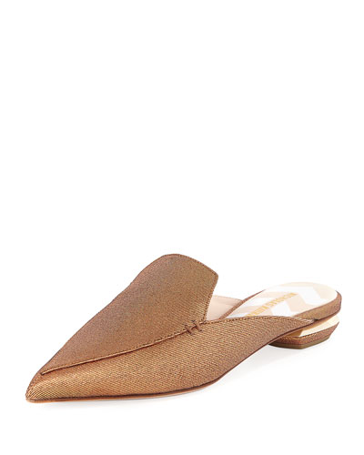 Beya Metallic Twill Mule Slide, Gold