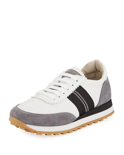 Suede and Nylon Platform Trainer Sneaker