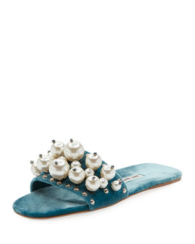 Pearly Velvet Slide Sandal