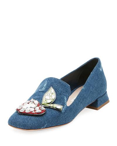 Crystal Apple-Embellished Denim Loafer