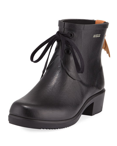 Miss Juliette Lace-Up Rubber Mid-Calf Rainboot