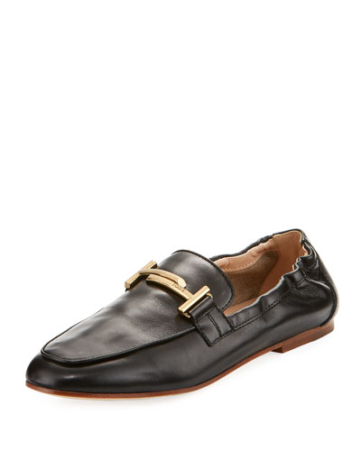 Double-T Scrunched Leather Loafer