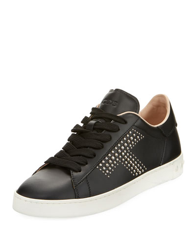Studded T Leather Sneaker, Black