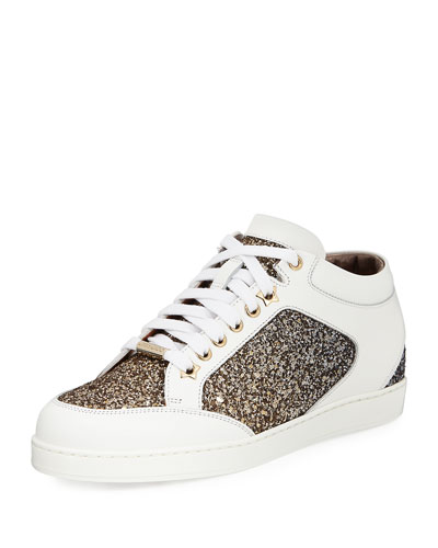 Miami Low-Top Glitter/Leather Sneaker