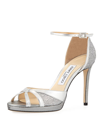 Talia 100mm Metallic Glitter Sandal