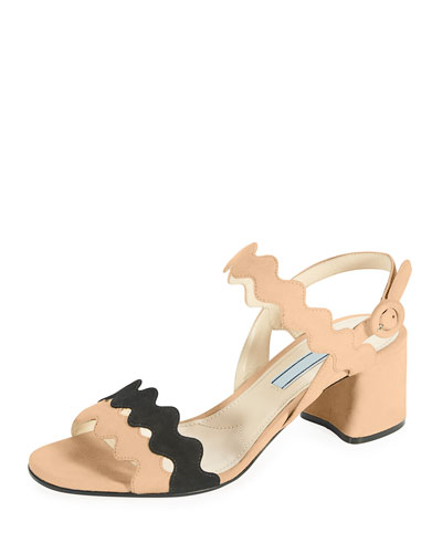 Scalloped Suede Block-Heel Sandal