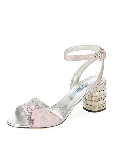 Metallic Jacquard Ankle-Strap Sandal with Jeweled Heel