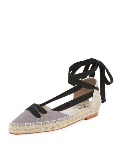 Colorblock Ankle-Wrap d'Orsay Espadrille, Gray/Black