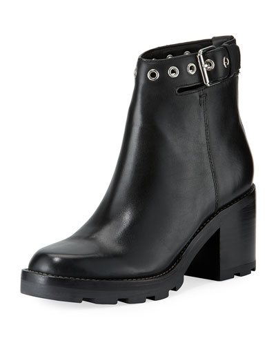 Glove Ankle-Strap Block-Heel Boot