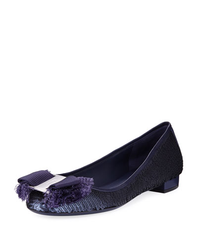 Metallic Sequined Ballerina Flat, Blue