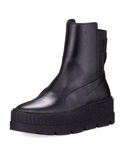 Platform Chelsea Sneaker Boot, Black