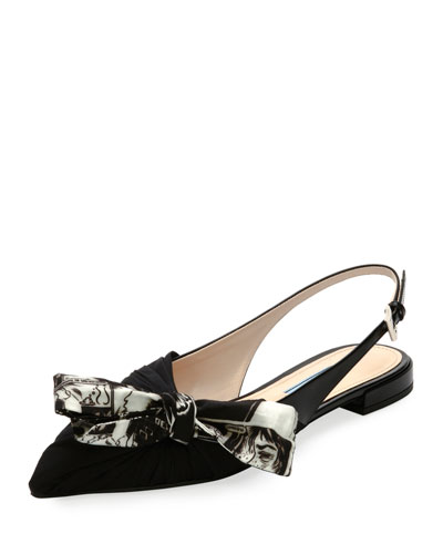 Slingback Flat with Printed Bow, Nero