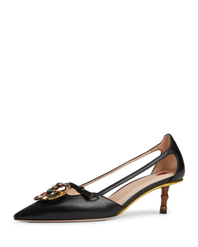 Jewel-GG Leather Pumps