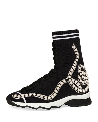 Pearly Beaded Knit Sock Sneaker