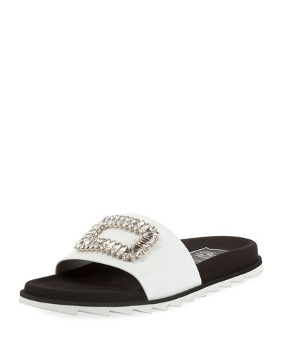 Slidy Viv Strass Buckle Flat Sandal, White