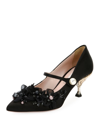 Mary Jane Pump with Floral Toe Detail