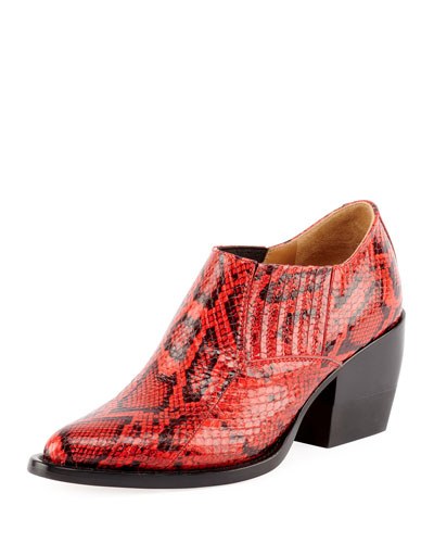 RIley Python-Embossed Ankle Bootie