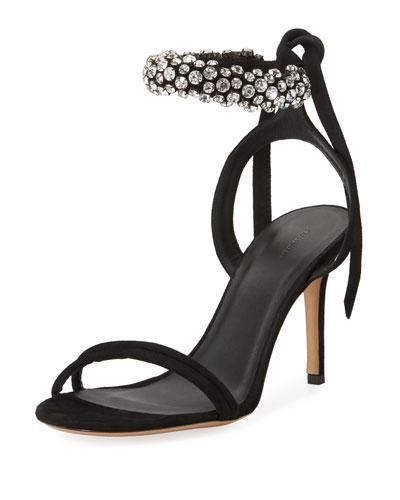 Arlin Crystal-Embellished Ankle-Wrap Sandal