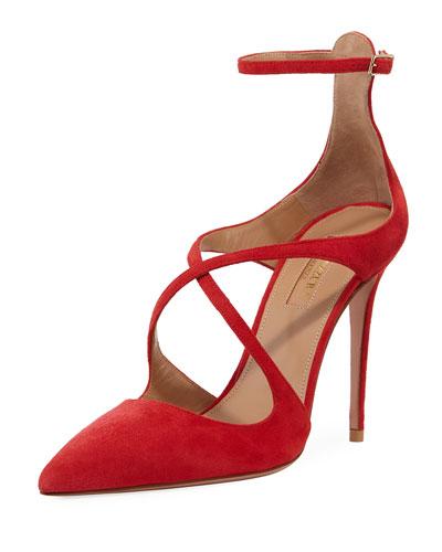 Viviana Suede Ankle-Strap Pump