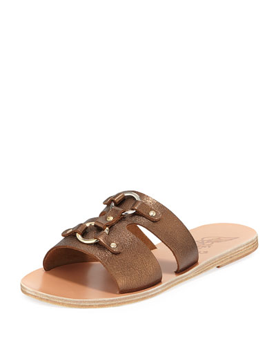 Attiki Flat Metallic Leather Slide Sandal