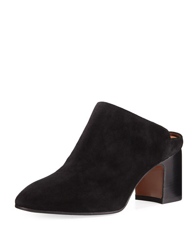 Elisabetta Leather Block-Heel Mule