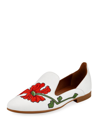 Emmaline Floral-Embroidered Leather Loafer