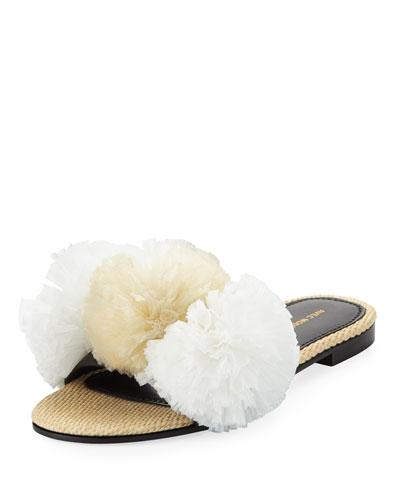Bora Bora Raffia Pompom Slide Sandal, White