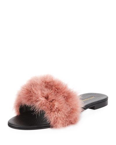 Bora Bora Feather-Embellished Slide Sandal, Pink