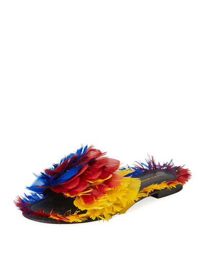 Bora Bora Feather-Embellished Slide Sandal