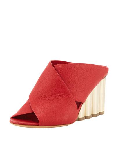 Leather Crisscross Slide Sandal