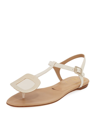 Chips Flat T-Strap Leather Sandal