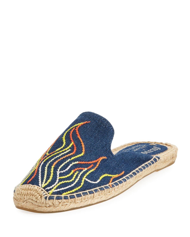 Flame-Embroidered Denim Espadrille Slide