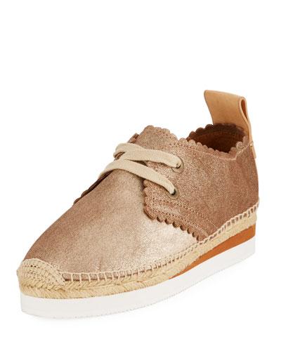 Scalloped Metallic Leather Platform Sneaker