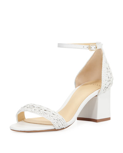 Rhondy Woven Leather Block-Heel Sandal