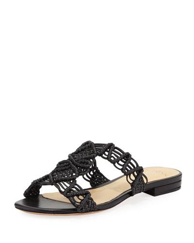 Rondah Crocheted Leather Slide Sandals, Black